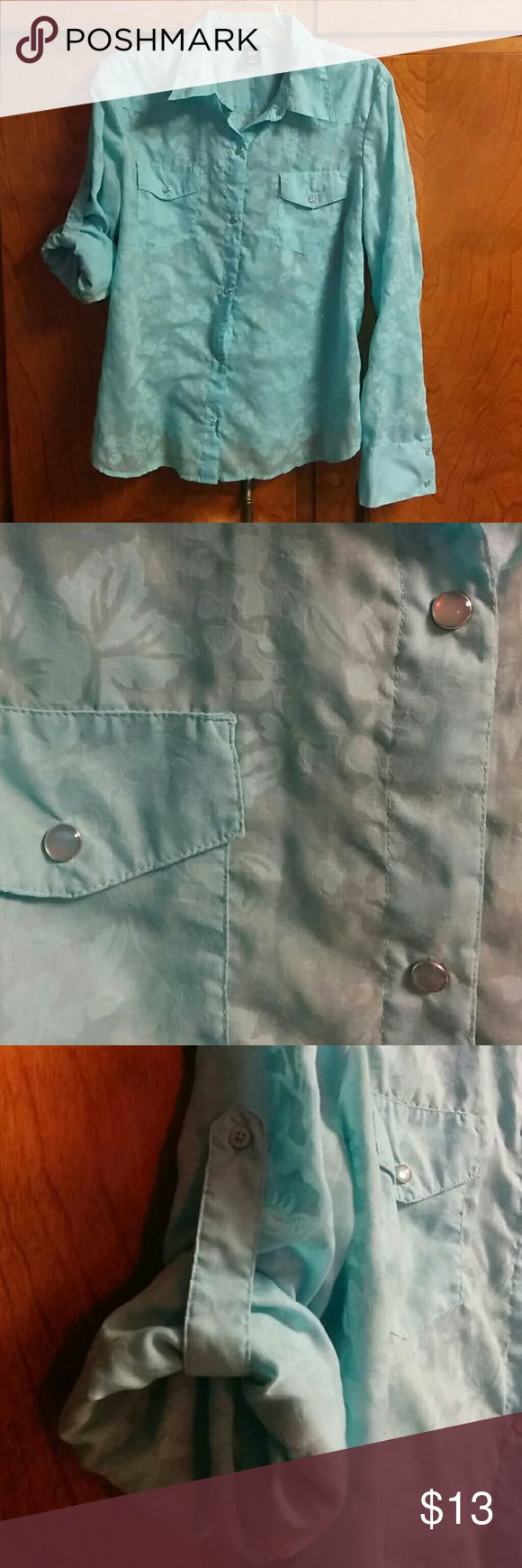 Gap Shear Snap Button Down Super cute sheer turquoise burnout pattern. Buttons are snap with a silvery pearl like overlay. Can wear sleeves up or down. Awesome with a silver Cami. GAP Tops Blouses