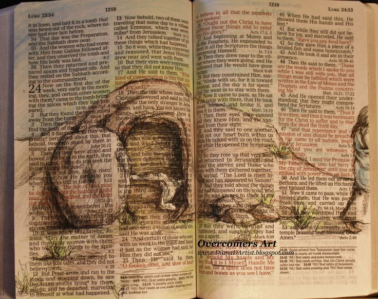 drawing+in+your+bible | He Is Risen Beautiful Easter Bible Art by OvercomersArt on Etsy