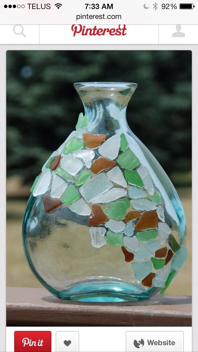 Easy, Quick Sea glass Craft! Oooohhh! I have a vase I could do this with!