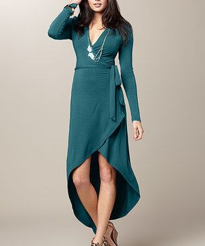 Another great find on #zulily! Deep Green Hi-Low Pasadena Wrap Dress by TART Collections #zulilyfinds