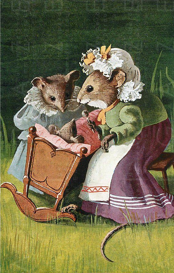 birth of a baby mouse adorable vintage illustration a woodland rh pinterest co kr