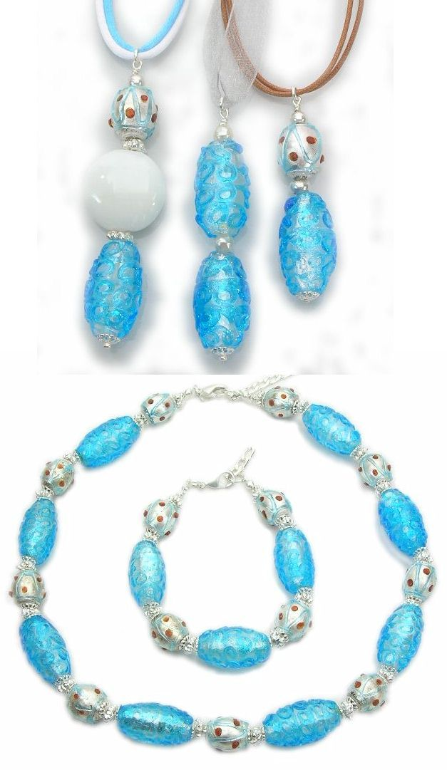 Appealing Murano glass necklace, pendants and bracelet. Wholesale fashion jewelry made from long oval glass beads (mm.25) with silver foil and relief decorations.