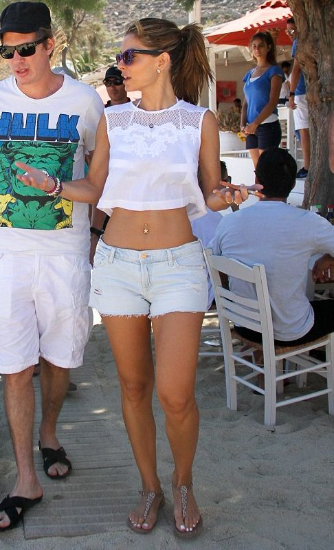 Maria Menounos wearing 7 for All Mankind The Cut Off Short in Distressed Light Greece June 2013