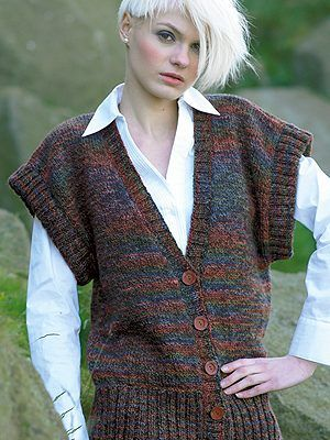FREE LONG LINE WAISTCOAT Pattern - Knitting Fever website - aran weight