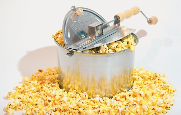 Whirley Pop popcorn popper; after I discovered this, I won't eat microwave pop corn ever again!