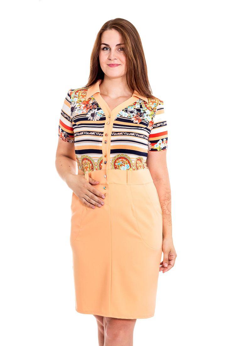 Платье с имитацией рубашки и юбки. Приятная цветовая гамма. Купить — http://fas.st/L-l24a
