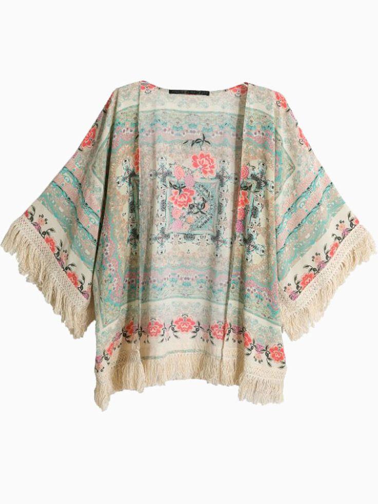 Vintage Floral Tassel Cardigan | Choies