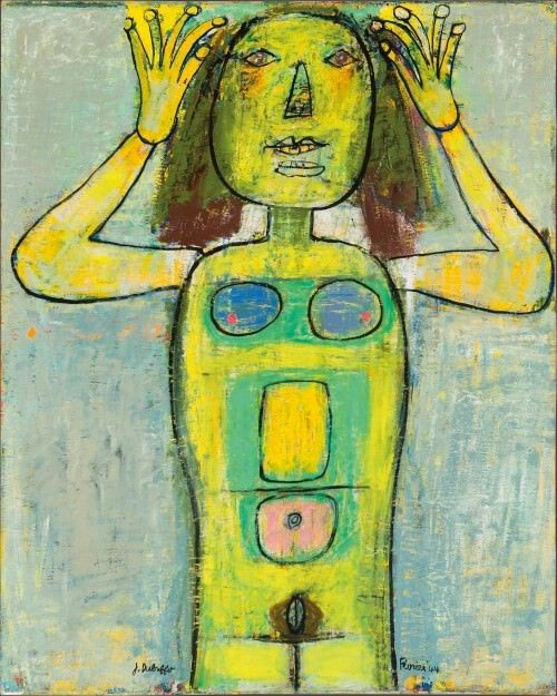 Femme épinglant ses cheveux	 (Woman pinning up her hair) JEAN DUBUFFET  1944 Oil on canvas 39 3/8 x 31 ½ in.