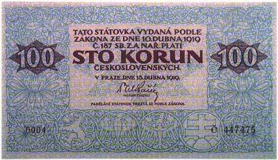 Státovky I. emise (1919) - Papírová platidla, bankovky