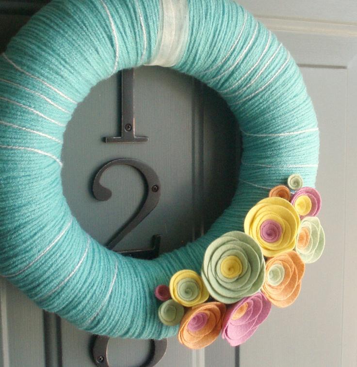 Yarn Wreath Felt Handmade Door Decoration - Sherbert 12in. $45.00, via Etsy.
