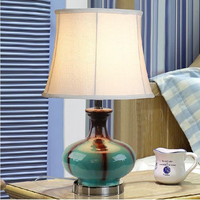 Mediterranean Table Lamp Ceramics Table Lamp Blue Loft Desk Light Modern Simple Style Bedroom Living Room Desk Light