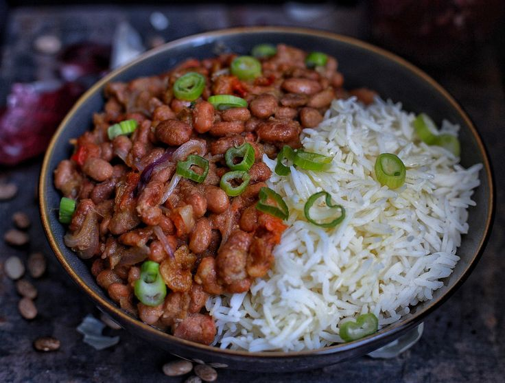 Rice and beans, a classic known to most from Cameroon. Pinto beans cooked with fresh herbs and smoked crayfish, served over basmati rice.