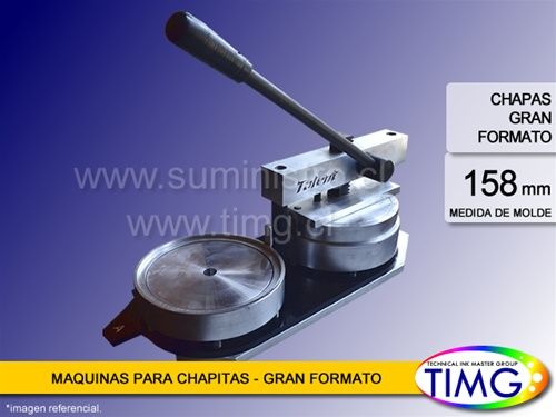 La maquina chapitas extra grande de 158mm $ 353.220 c/iva Chapitas espejo, alcancia , letrero luminoso, Porta foto- http://www.suministro.cl/product_p/5001020005.htm#utm_sguid=166629,6eb9ec82-cfab-e282-f1e0-04085687b727