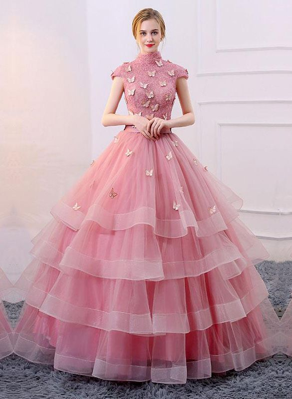 Romantic Ball Gown High Neck Cap Sleeves Lace Dresses Dresses