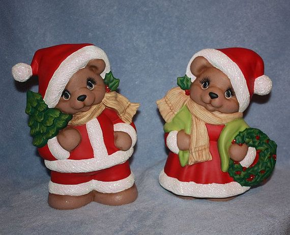 Handpainted Ceramic Mr and Mrs Santa Bear by FlutterbyConnections, $60.00