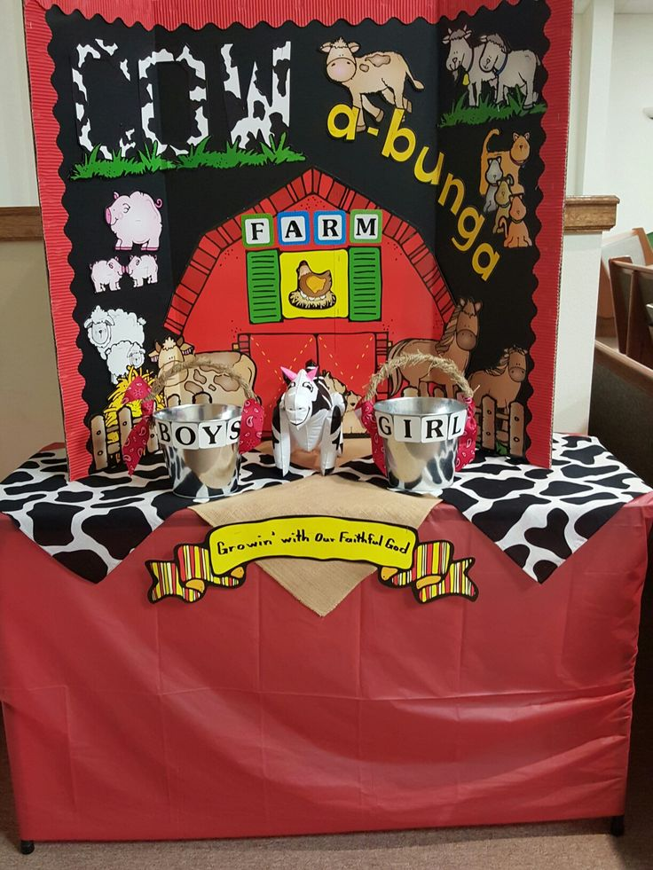 Offering table for Cow-a-bunga Farm VBS 2016