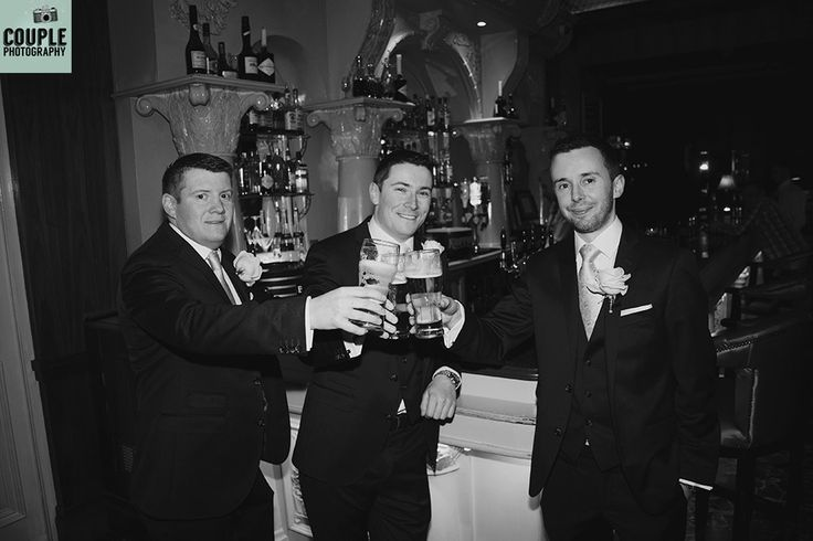 The lads have one pint before heading to the church.  Wedding at Kilashee House Hotel by http://www.couple.ie