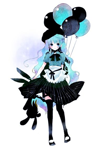 A cute/kawaii gothic lolita girl in black & blue with balloons & a bunny rabbit.