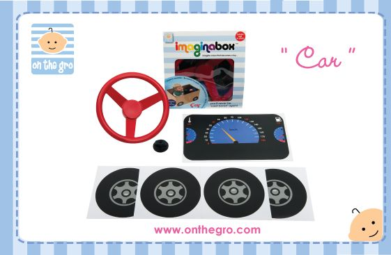 """$19.95 Imaginabox® Car – the simple, but practical kit that turns any cardboard box into a car...brrrroom!   Developed to stimulate children's imaginations - all moving plastic parts & stickers are reusable, recyclable and simple to assemble...children will never be """"card-bored"""" again!   Imaginabox® makes a fabulous inexpensive gift that a child can also participate in building. They will LOVE it."""