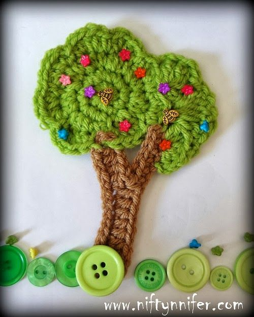 Free Crochet Pattern ~Tree Motif Embellishment http://www.niftynnifer.com/2014/03/free-crochet-tree-motif-embellishment.html