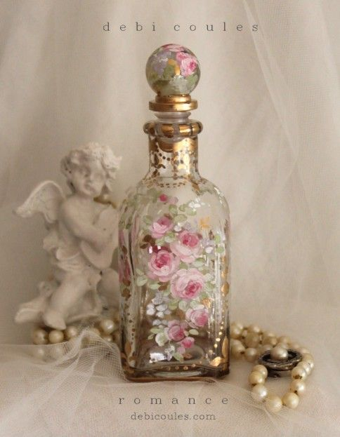 French Blush Roses Fleur-de-lis Bottle/Perfume hand painted and is a one of a kind, available at www.debicoules.com