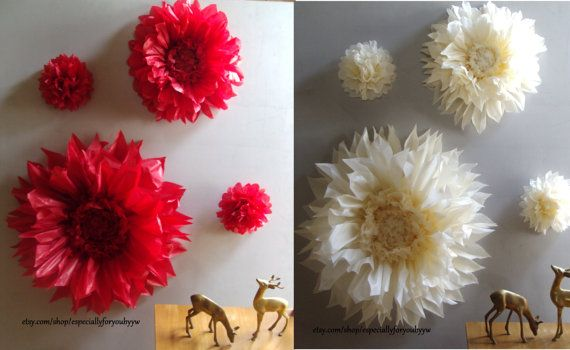 Christmas Decoration - Set of 4 Giant Paper Flowers - Perfect Decorations for Christmas, Wedding,Birthday Party&Baby Shower