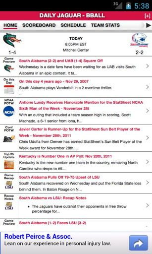 If you are a fan of South Alabama football and basketball, this is the one app you must have. South Alabama Football and Basketball gives you previews, recaps, unique statistical nuggets, scoring and analysis based on real-time stats and historical trends for both sports.  We leverage our advanced technology and database of over three billion statistics to give you unique insights and proprietary metrics, including team power rankings and individual player rankings and grades.  We even arm…