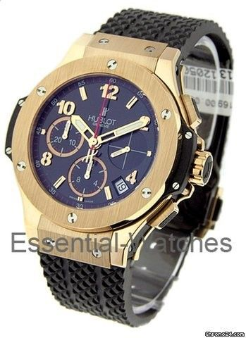 Hublot Rose Gold Big Bang - Rose Gold Case on Rubber Strap with Black Dial