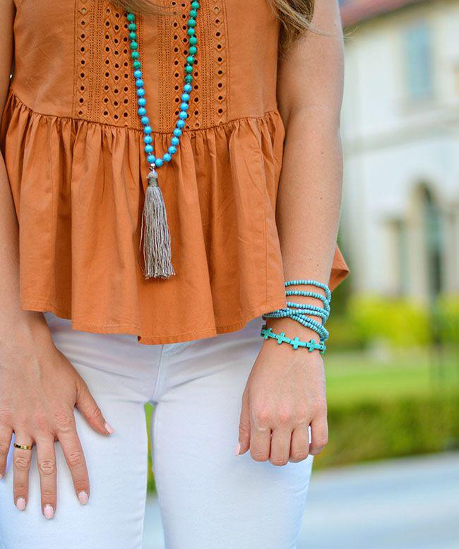 turquoise tassel and bracelets