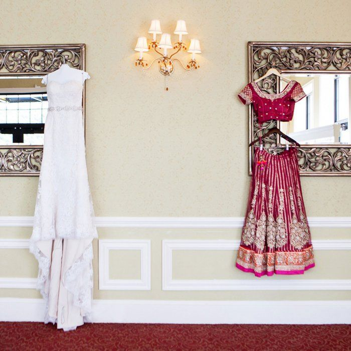 Get some fusion wedding inspiration from this wedding;  The fusion bride opted for two wedding dresses - one traditional and the other a traditional Indian lehenga