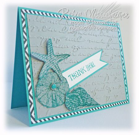 SU! By the Seashore stamp set; Pretty Print embossing folder; Neutrals Collection DSP stack; colors are Bermuda Bay, Smoky Slate and Basic Black - Robin Messenheimer