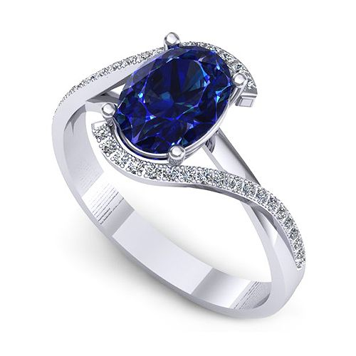 Inel logodna F63ASF * Piatra principala: 1 x safir, dimensiune: ~8.00x6.00mm, forma: oval * Pietre secundare: 32 x diamant, dimensiune: ~1.00mm, forma: round