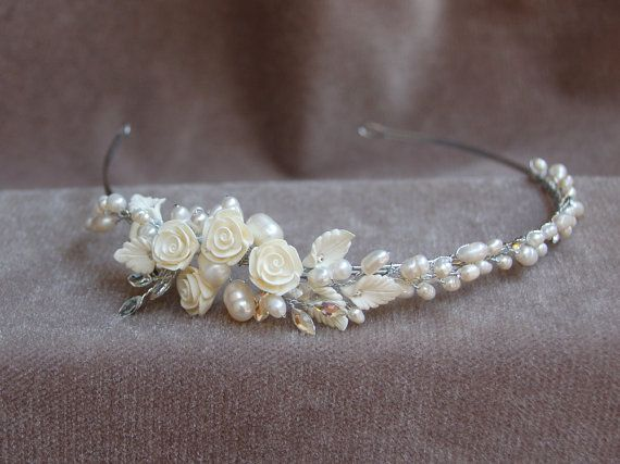 Bridal Headband / Bridal Pearl , Flower & Austrian Crystal Headband / Wedding…