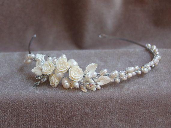 Bridal Pearl  Flower & Rhinestone Handmade Headband / by lyndahats, $45.00