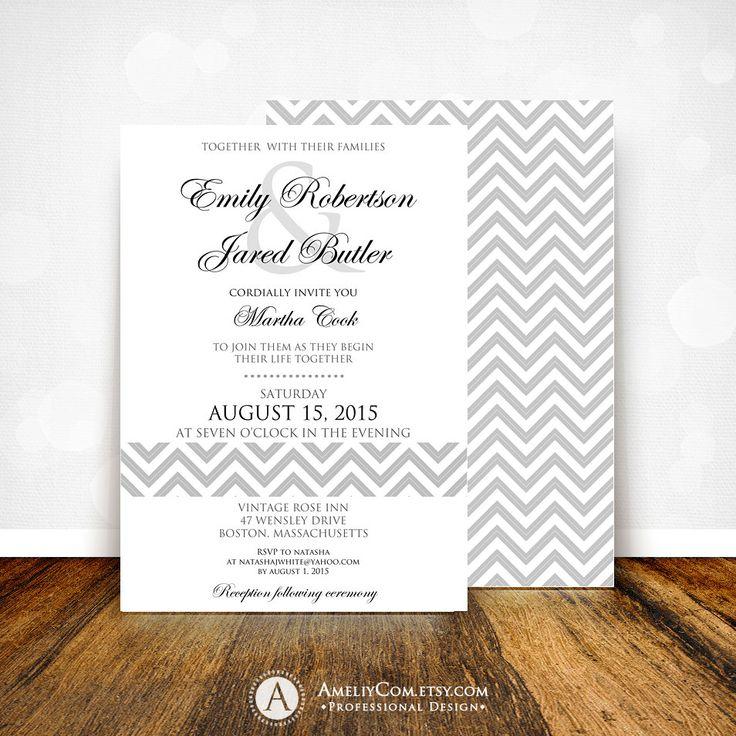 online wedding invitation template%0A Printable Wedding Invitation Gray Chevron Weddings Invite INSTANT DOWNLOAD  Editable PDF Digital   Back Side