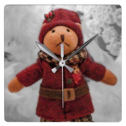 #Christmas teddy clock - #Xmas #ChristmasEve Christmas Eve #Christmas #merry #xmas #family #holy #kids #gifts #holidays #Santa