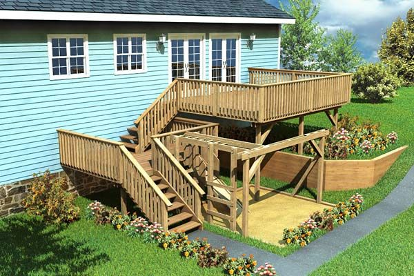 Split level deck play area project plan 90007 decks for Split level garden decking