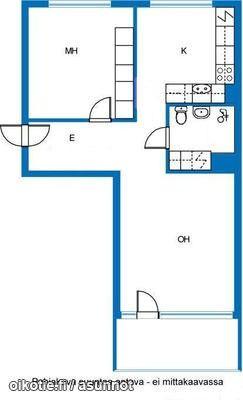 2 rooms (52,5m2) / Läpitalon kaksio (52,5m2) #kaksio #pohjapiirros