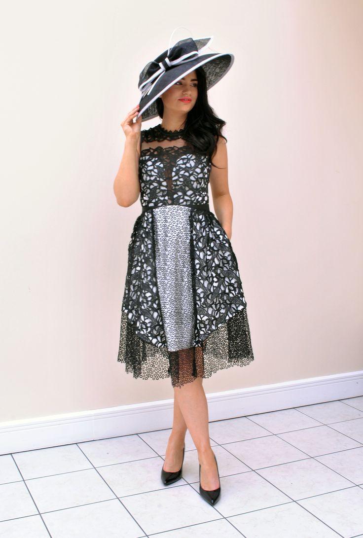 Buy Dress Here > https://www.mcelhinneys.com/three-floor-shard-interest-crochet-fit-and-flare-dress-black-and-white/