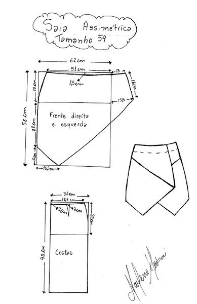 Pattern Draft for Asymetrical Skirt Size 54. They Also Have Pattern Drafts in Other Sizes Here: http://club.osinka.ru/search.php?search_author=351113&topic=163335&start=0&sid=54665e032b79592a1a8b498c