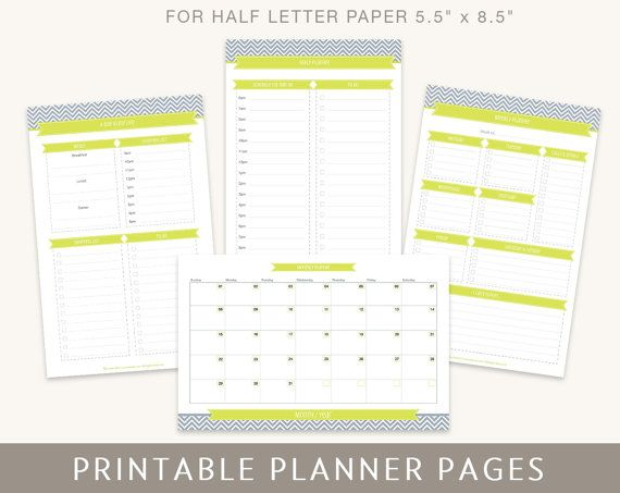 Printable Planner Pages Daily Weekly Monthly Planners