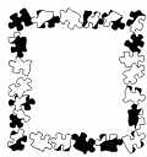 """Puzzle Piece Picture Frame Lesson Plan: Recycling for Kids - Art on a Shoestring (Making art from recycled materials) KinderArt  ----    This could be cool for an art piece that it would make sense for.  You'd still have to glue it to paper, or recycledpaper.  But it's a wonderful """"mat and frame"""" for a kids' art piece.  Gonna show to art curtors."""