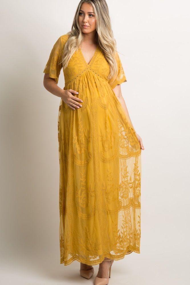 c75f6921cef Mustard Lace Mesh Overlay Maternity Maxi Dress in 2019