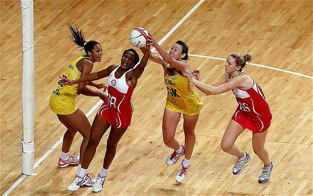 England's Pamela Cookery beats Rebecca Bulley of Australia to the ball as the home side claimed a remarkable series victory in front of 7000 spectators at Wembley Arena in London.