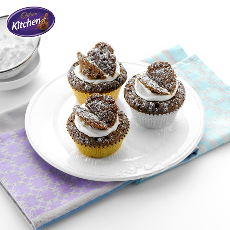 Remember making #butterflycakes when you were little? Relive the memories with your family! These delicious #Chocolate Butterfly #Cakes taste every bit as good as they look. Find out about the #CADBURY product featured in this recipe here https://www.cadburykitchen.com.au/products/view/bournville-cocoa/