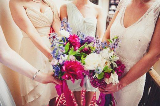 Colourful English summer garden wedding bouquets