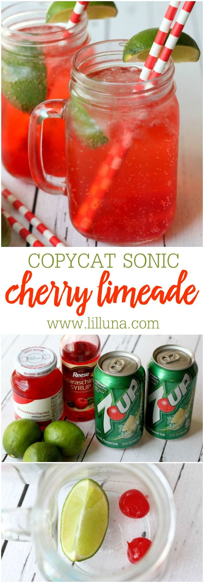 Delicious recipe for Sonic's Cherry Limeade - tastes just like it! { lilluna.com } Ingredients include 7-Up, cherries, a lime, and maraschino syrup!