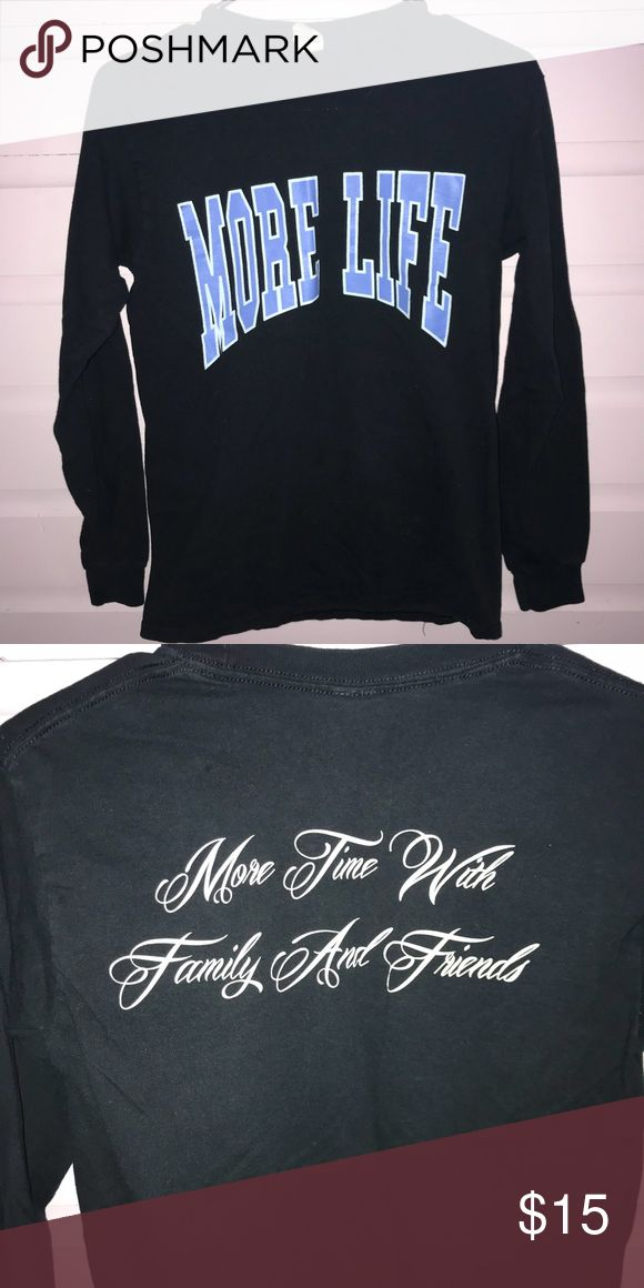 """drake's more life tee More Life- more time with family and friends tee from Drake's Album """"more life"""" Women's small. Gildan brand.  -no trades -if you are interested in a bundle, put them together and i can send you a personal discount! -i'm negotiable on prices, but no lowballs! -items with an emoji are """"add-on items"""". this means you can add them to an order for $1-$5!  -try to make all offers through offer button. Gildan Tops Tees - Long Sleeve"""