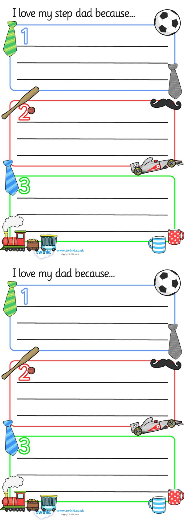 I Love My Dad/Step dad Writing Templates  - Pop over to our site at www.twinkl.co.uk and check out our lovely Father's Day primary teaching resources! Father's day, Dad, Step Dad, #Father'sDay #Father'sDay_Resources