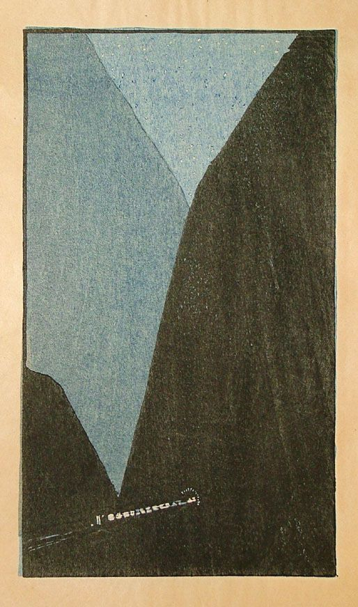 Shizuo Fujimoro, Night Train, 1914 woodblock print